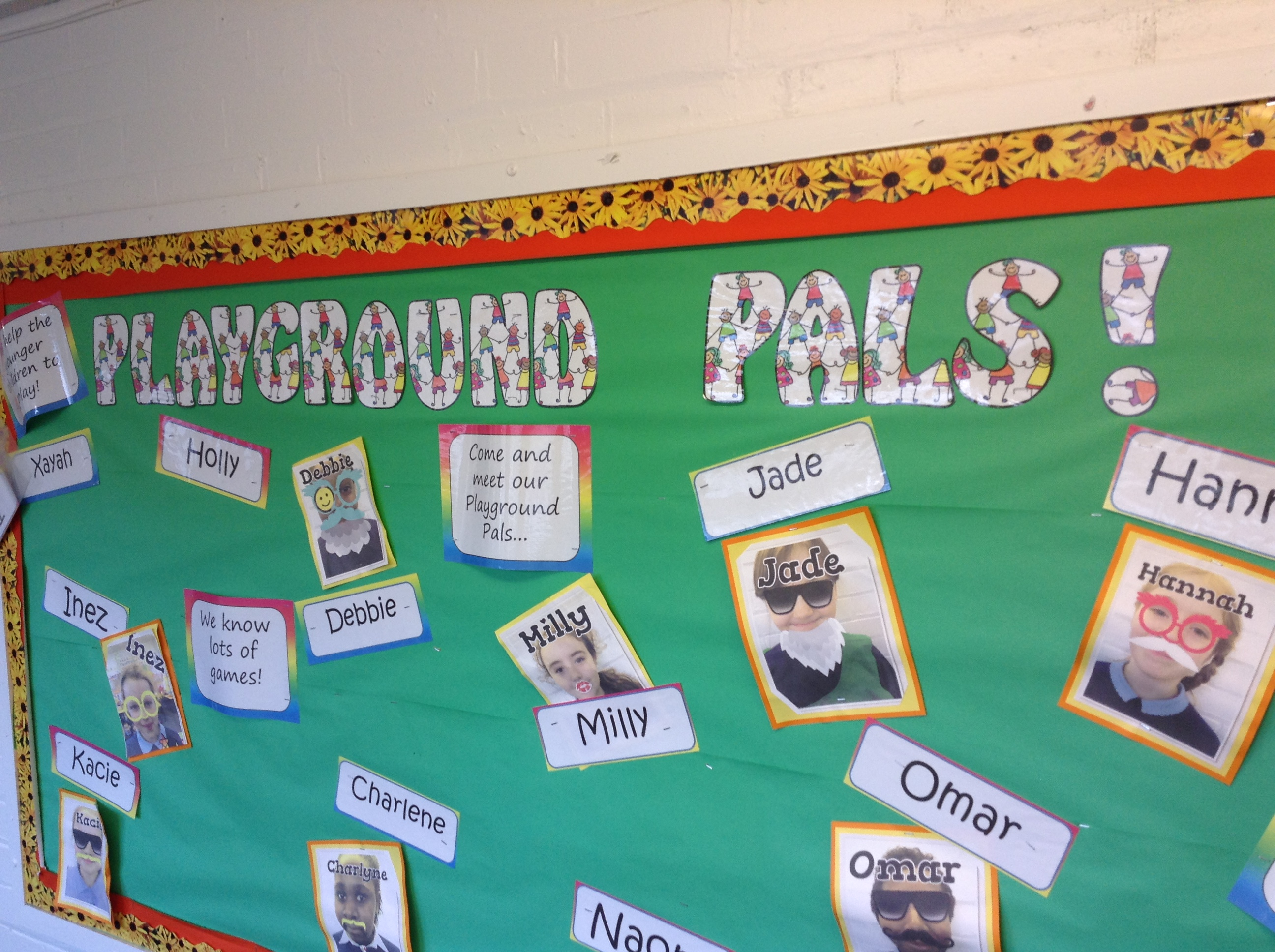 Here is our display which shows who our Key Stage 1 and 2 Playground Pals are.